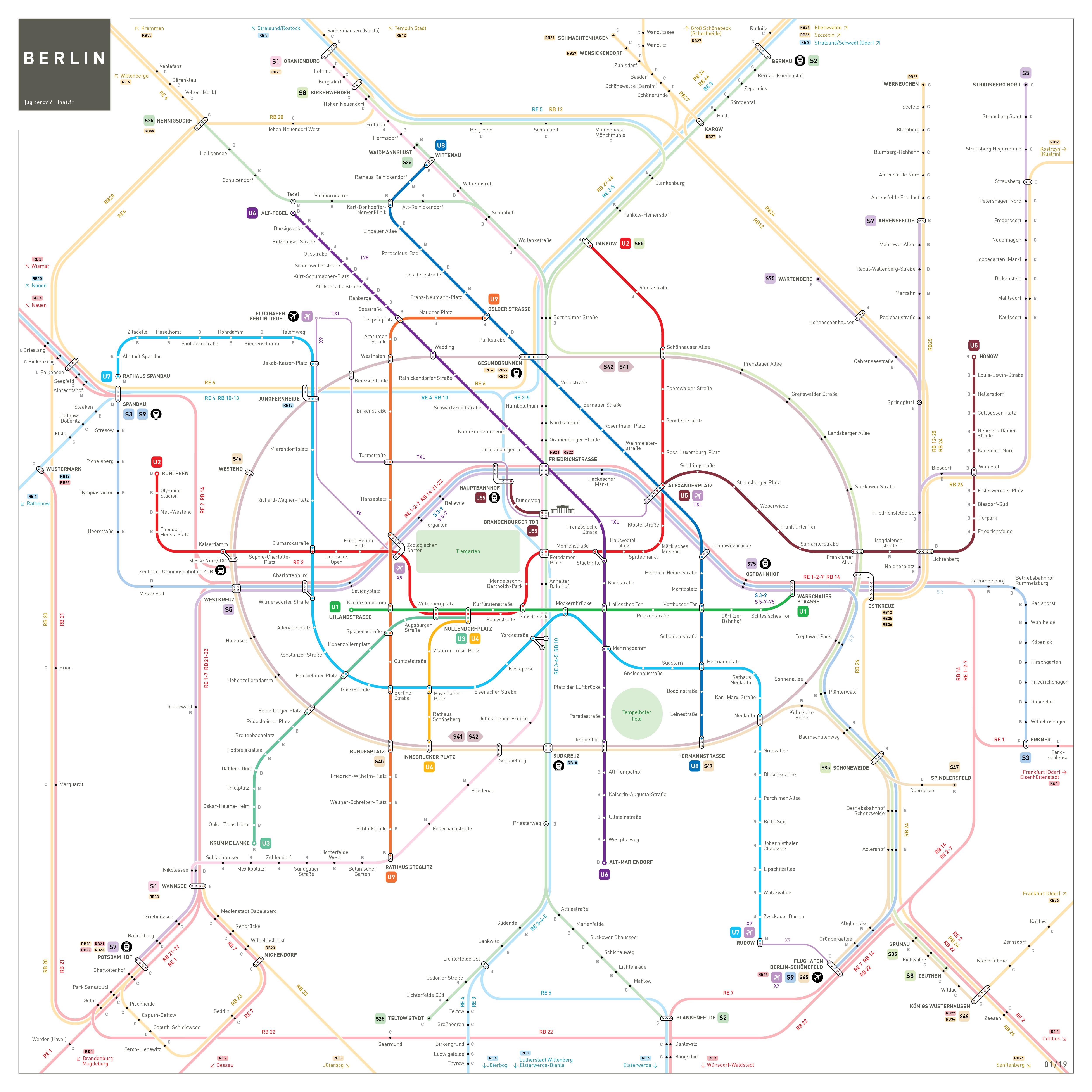 Berlin metro map u bahn netzplan Liniennetz