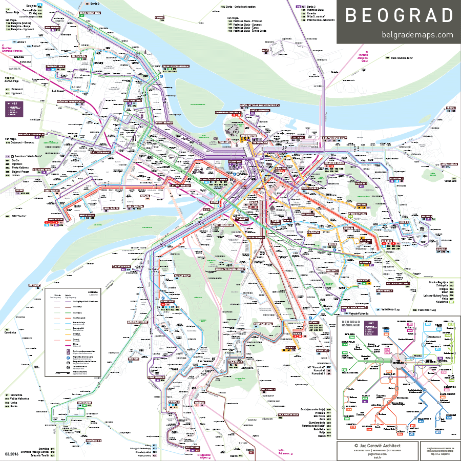 Belgrade bus map