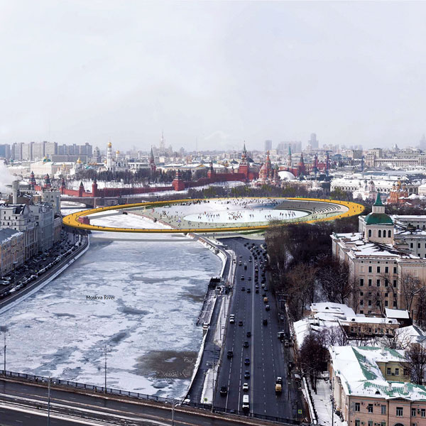Moscow golden ring zaryadye winter