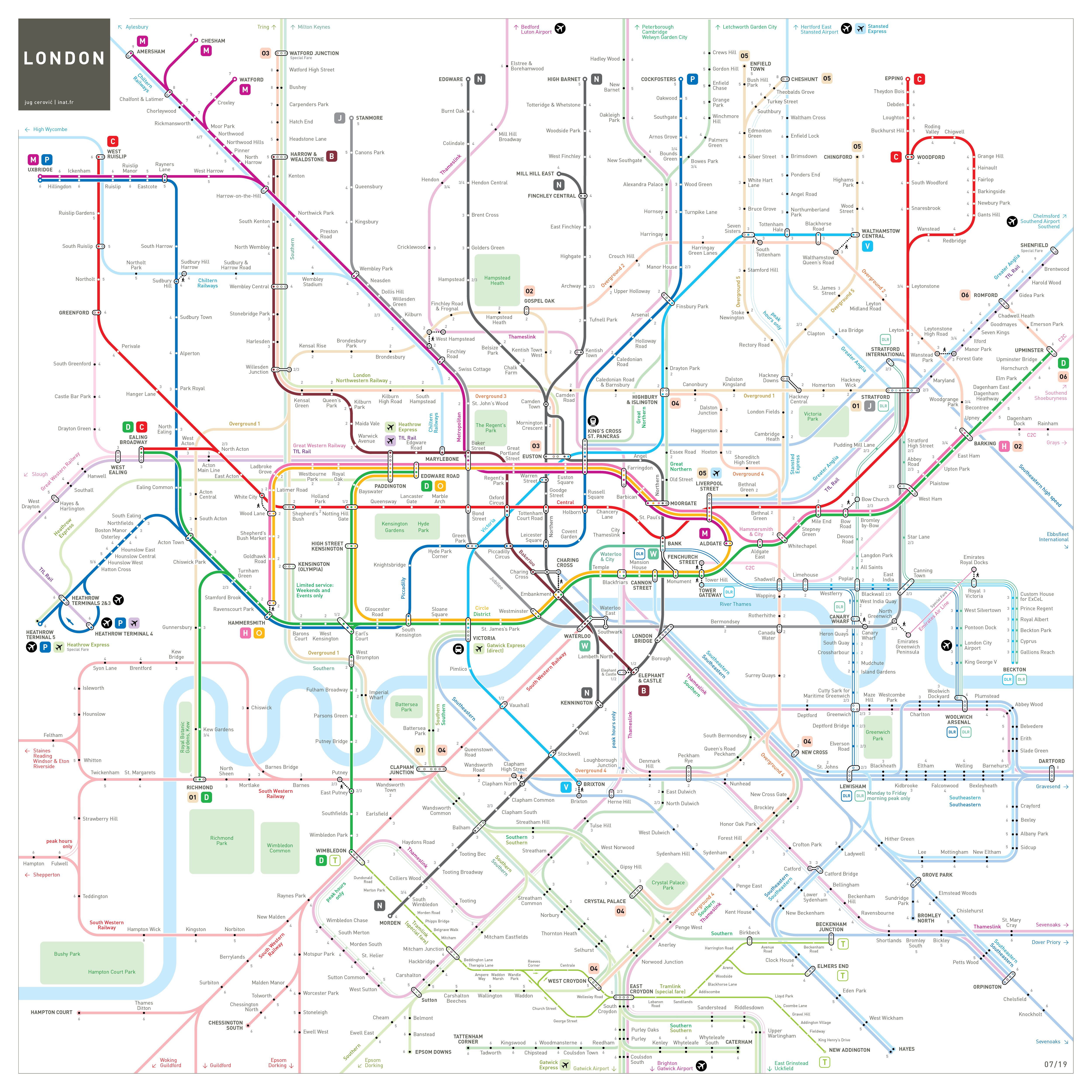 london metro tube underground rail map