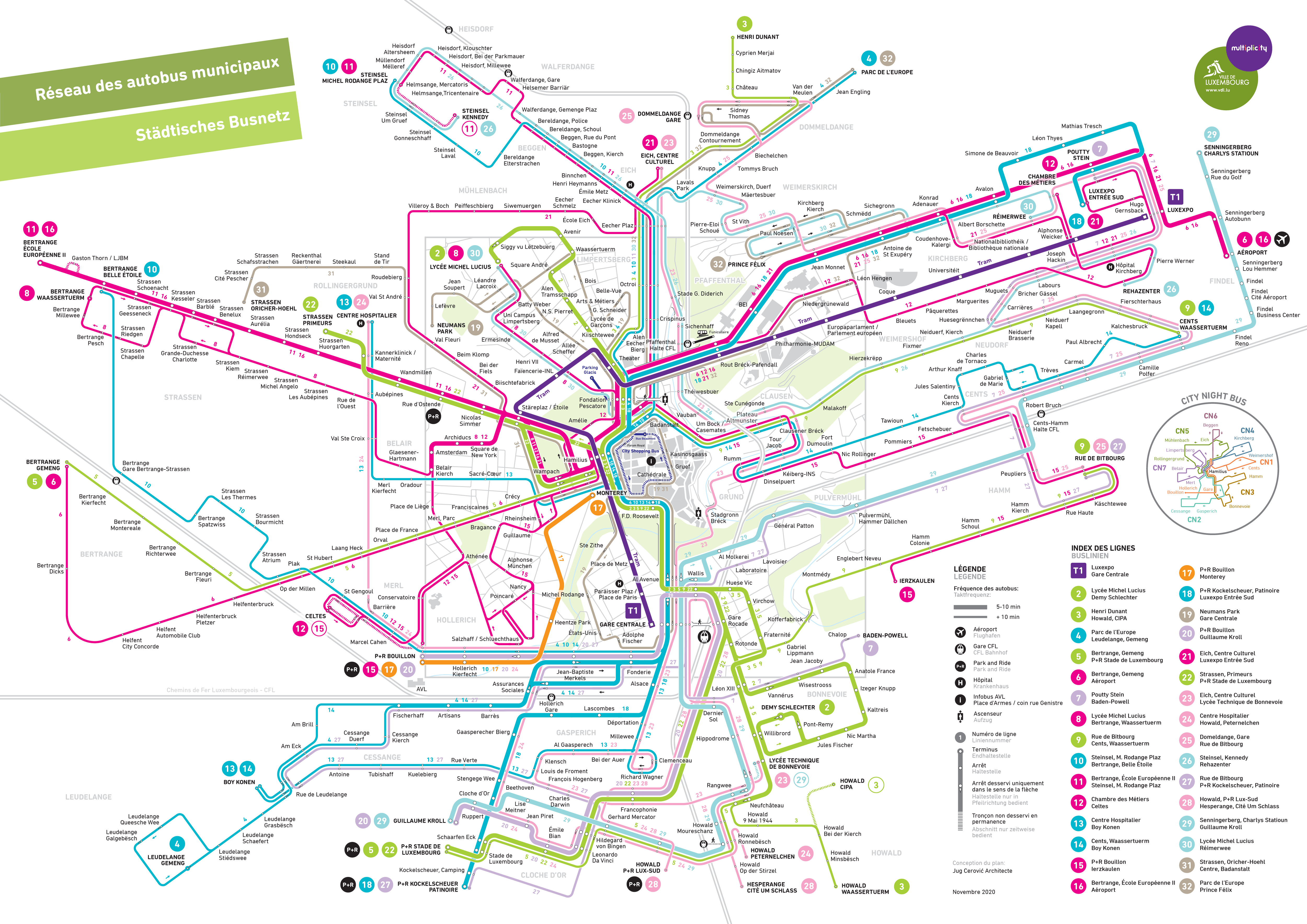 Luxembourg Bus Map INAT Maps - Luxembourg map