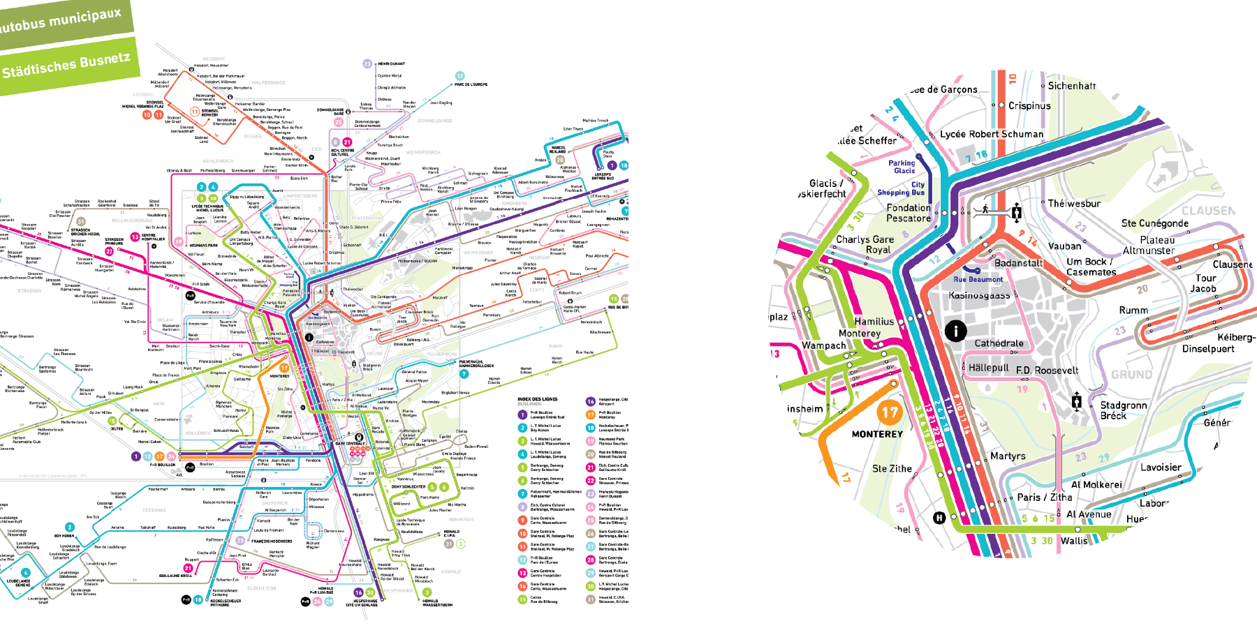 Luxembourg bus map