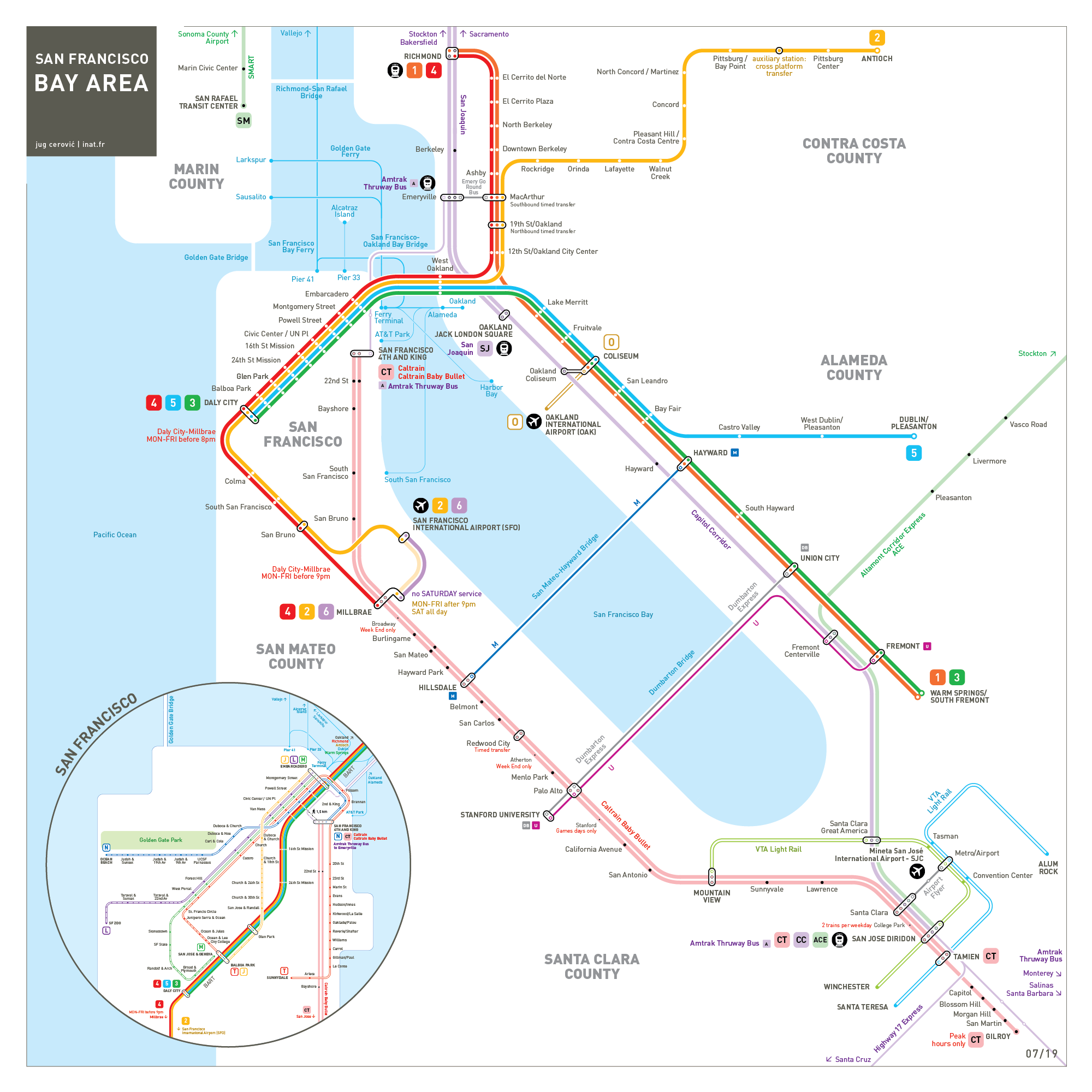 San Francisco Bay Area metro map