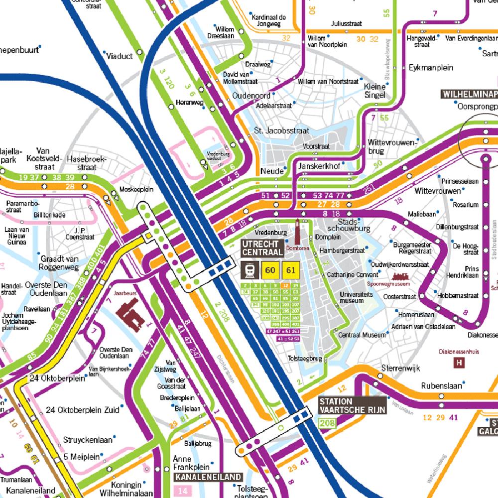 Utrecht lijnennetkaart bus tram train public transport map