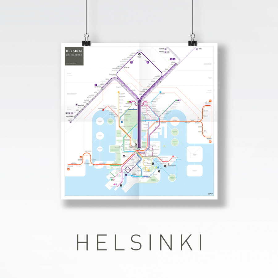Helsinki metro tram train map
