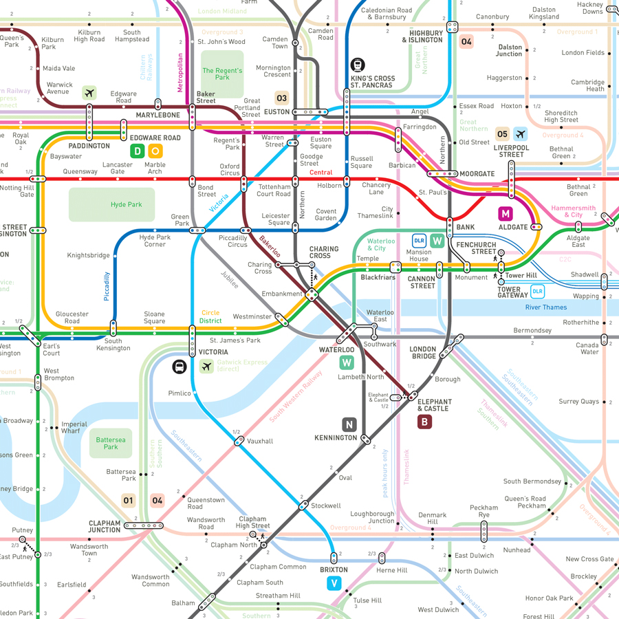 London underground and rail map
