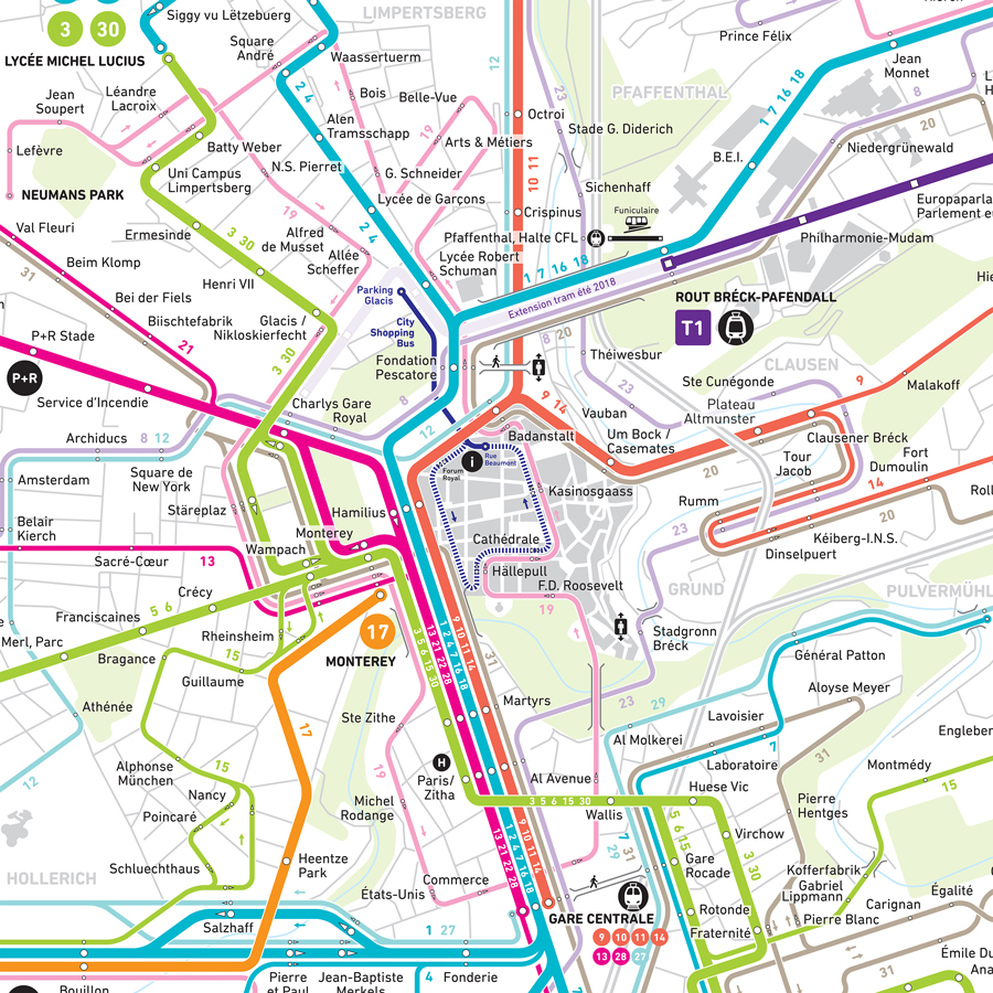 Luxembourg public transport map