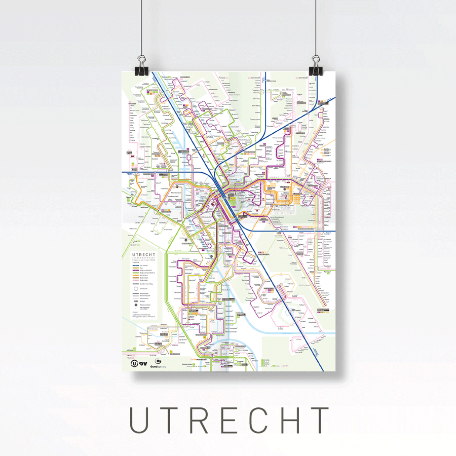 Utrecht lijnennetkaart bus tram train public transport map